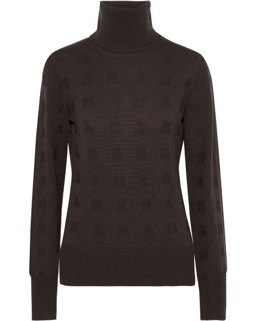 Chalayan Brown Cutout Wool Turtleneck Sweater Chocolate
