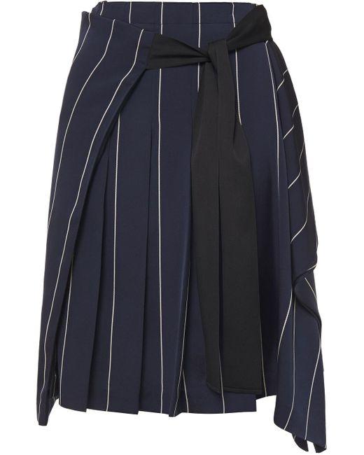 McQ Alexander McQueen Blue Tie-front Draped Pinstriped Satin-twill Skirt