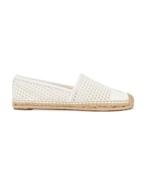 Tory Burch | White Grenada Mesh And Leather Espadrilles | Lyst