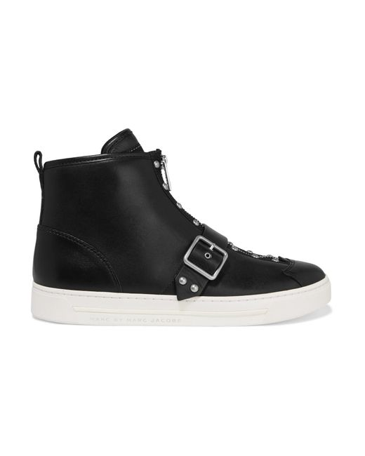 Marc By Marc Jacobs | Black Varick Studded Glossed-leather High-top Sneakers  ...