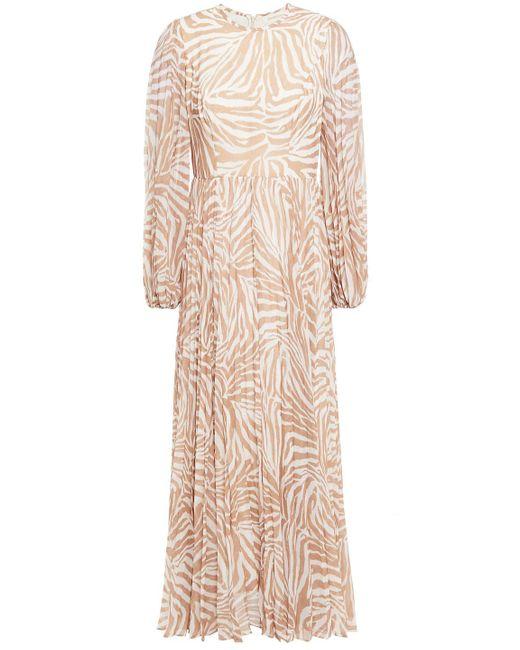 Zimmermann Natural Pleated Polka-dot Chiffon Midi Dress