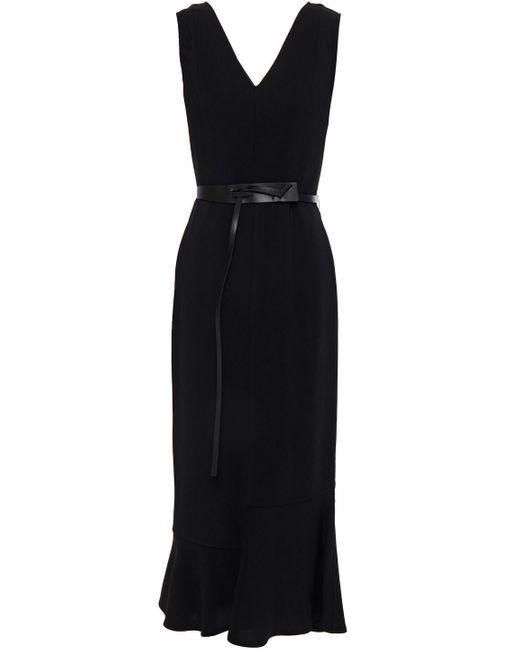 Victoria Beckham Black Belted Fluted Cady Midi Dress