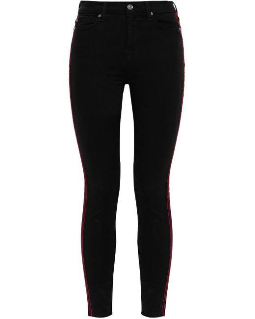 7 For All Mankind Black 7 For All Kind Velvet-trimmed High-rise Skinny Jeans