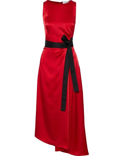 Amanda Wakeley Red Crepe Back Satin Midi Dress