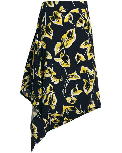 Marni Asymmetric Printed Matelassé Midi Skirt Midnight Blue