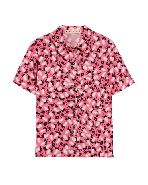 Marni - Pink Printed Cotton-poplin Shirt - Lyst