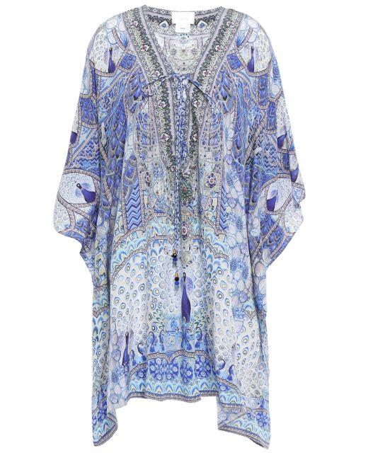 Camilla Embellished Lace-up Silk Crepe De Chine Kaftan Light Blue