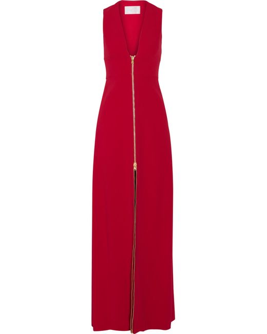 Cushnie et Ochs | Red Zip-detailed Stretch-cady Gown | Lyst