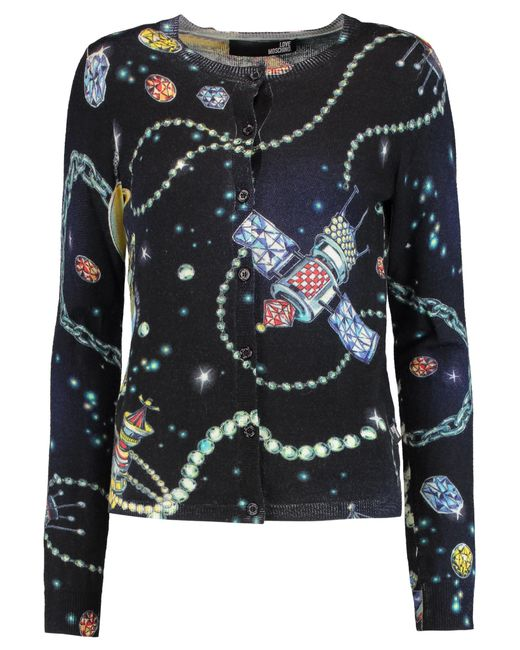 ... Love Moschino | Black Printed Wool Cardigan | Lyst