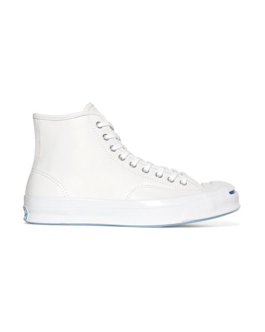 Converse | White Jack Purcell Signature Leather High-top Sneakers | Lyst