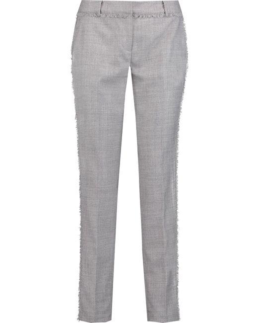 MICHAEL Michael Kors | Gray Miranda Frayed Knitted Straight-leg Pants | Lyst