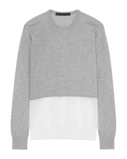 Marc By Marc Jacobs | Gray Papillon Crochet Knit-paneled Marled Cotton Sweater | Lyst