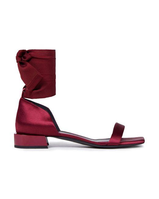 Lanvin Multicolor Grosgrain-trimmed Satin Sandals