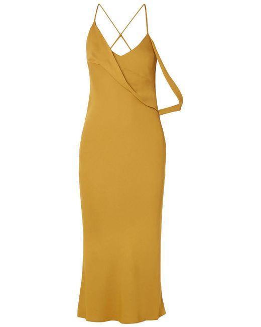 Michelle Mason Multicolor Open-back Draped Cady Midi Dress Marigold