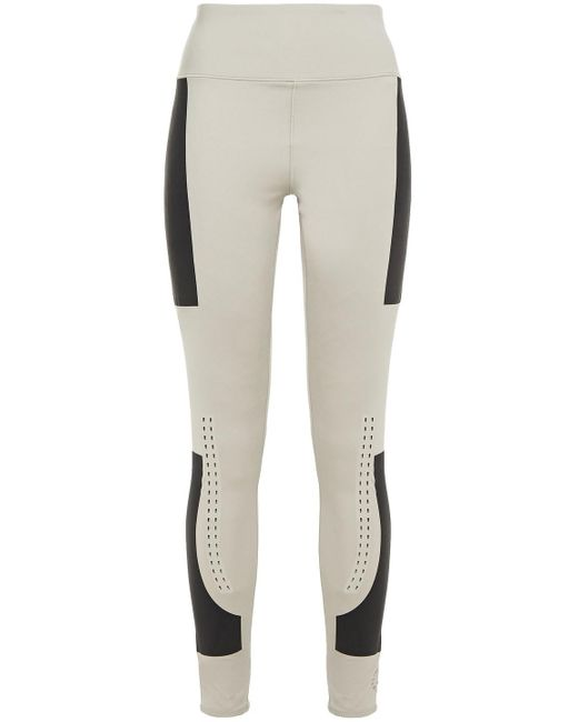Adidas By Stella McCartney Multicolor Perforated Two-tone Stretch Leggings