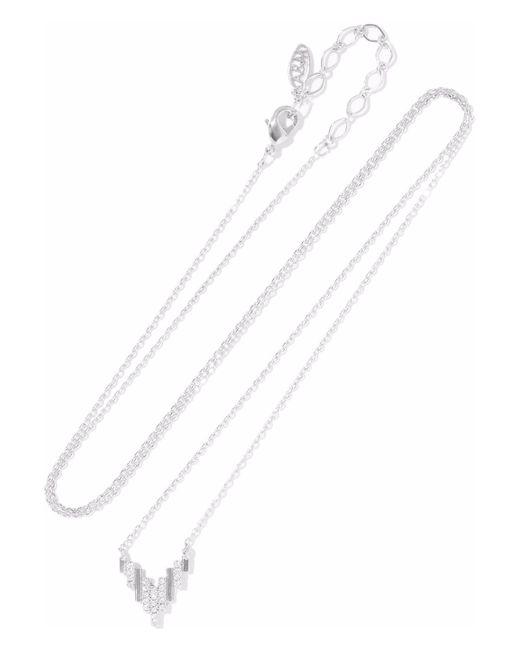 Astrid & Miyu - Metallic Fitzgerald Pyramid Rhodium-plated Crystal Necklace - Lyst