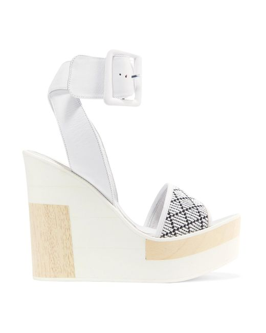 Paloma Barceló | White Juanita Woven Leather Wedge Sandals | Lyst