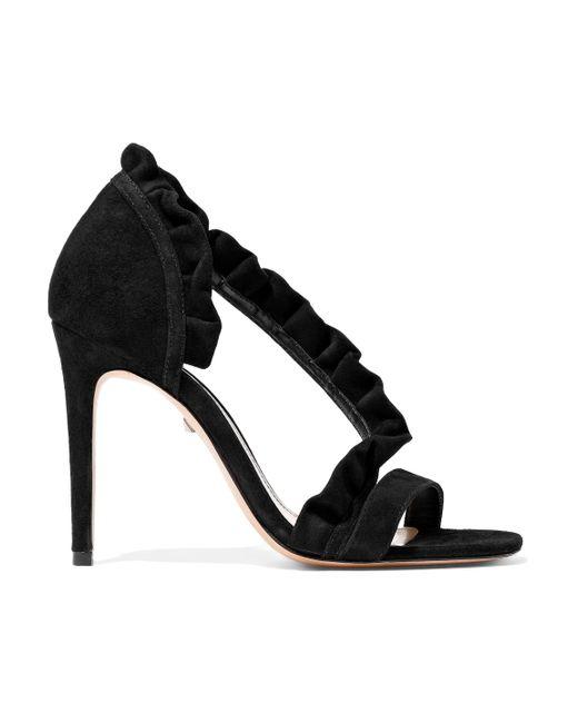 Schutz Ruffle-trimmed Suede Sandals Black
