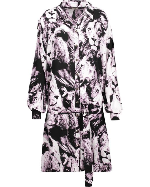 Roberto Cavalli | Multicolor Belted Printed Silk Mini Dress | Lyst