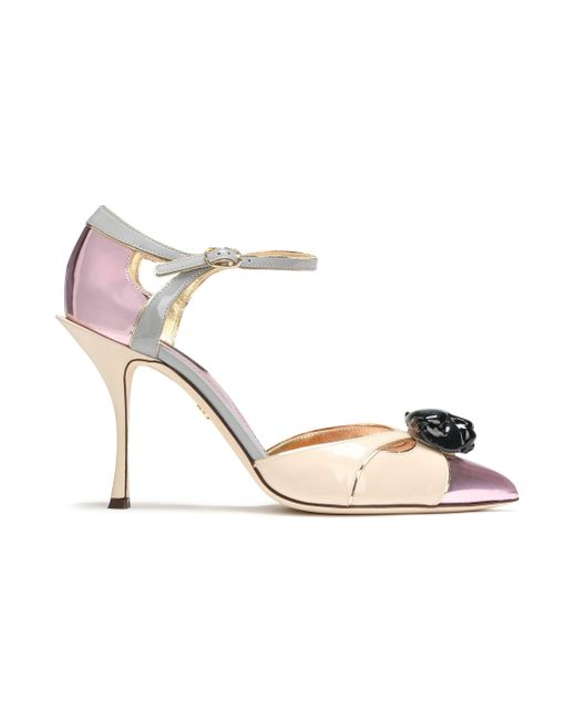 Dolce & Gabbana Embellished Color-block Patent And Mirrored-leather Pumps Baby Pink