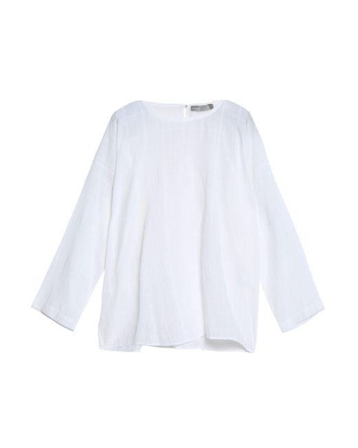 Vince - White Embroidered Cotton-gauze Top - Lyst