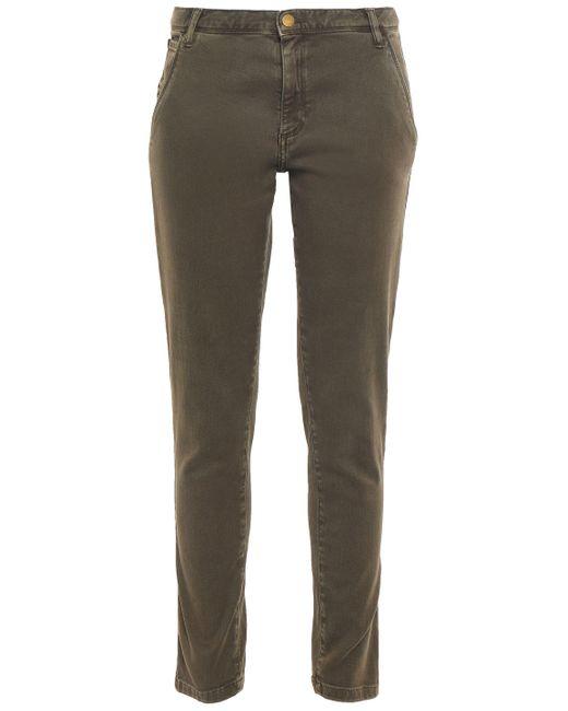 Ba&sh Chiapas Stretch-cotton Twill Slim-leg Pants Army Green