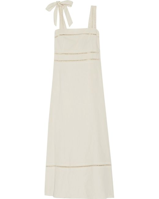 Isabel Marant | White Reign Open Knit-trimmed Linen And Cotton-blend Maxi Dress | Lyst