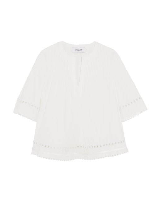 10 Crosby Derek Lam | White Embroidered Pintucked Cotton Top | Lyst