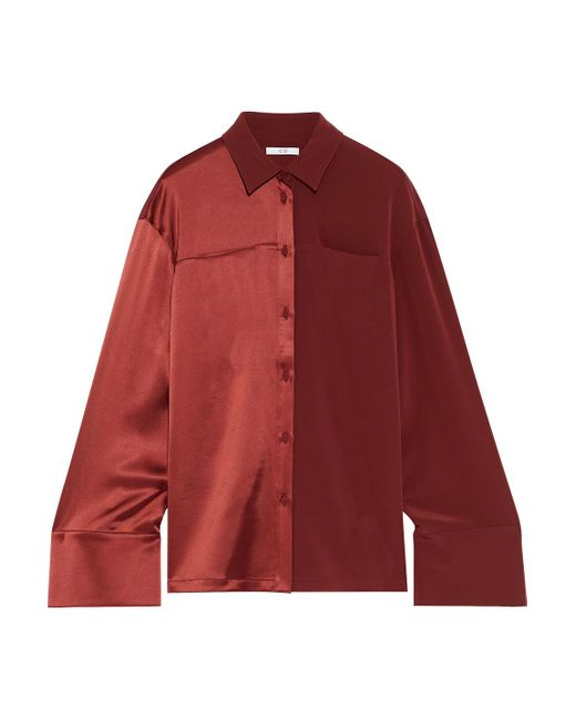 Co. Red Paneled Satin And Crepe Shirt