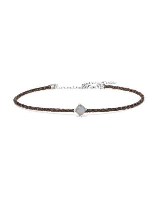 Chan Luu - Brown Braided Leather, Silver-tone And Stone Choker - Lyst