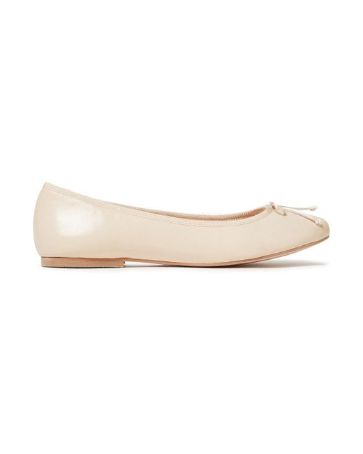 French Sole Natural Lola Bow-embellished Leather Ballet Flats Cream