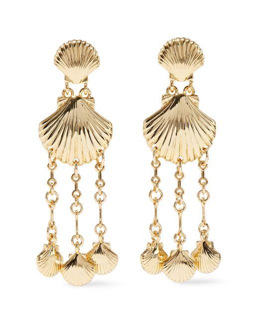 Noir Jewelry Metallic Clam Bake 14-karat Gold-plated Earrings Gold
