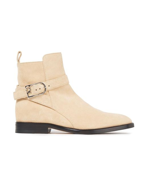 Sergio Rossi Natural Buckled Suede Ankle Boots