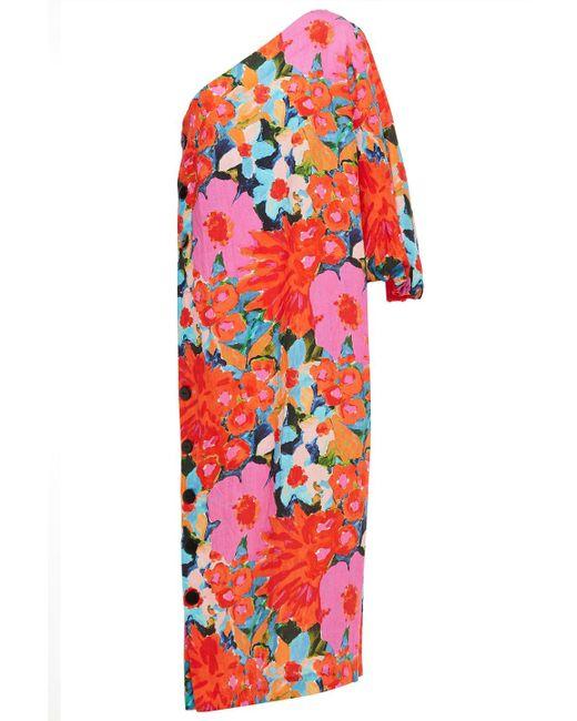 Mara Hoffman Pink Emilie One-shoulder Floral-print And Linen-blend Midi Dress