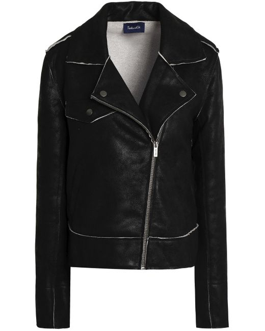 Splendid - Black Coated French Cotton-terry Biker Jacket - Lyst
