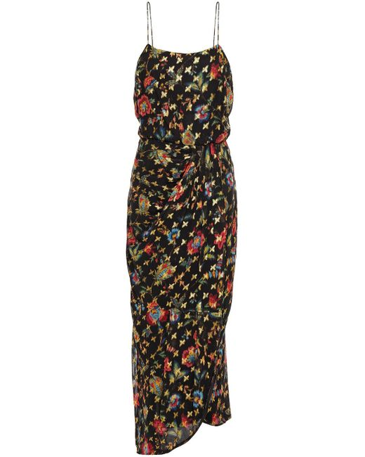 10 Crosby Derek Lam Black Wrap-effect Floral-print Metallic Fil Coupé Georgette Midi Dress