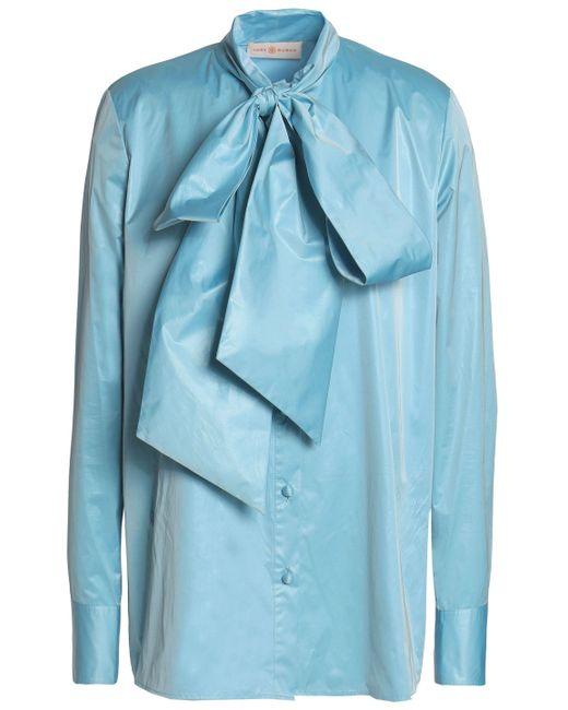 50a7a78f2f7f56 Tory Burch - Blue Woman Pussy-bow Taffeta Shirt Azure - Lyst ...