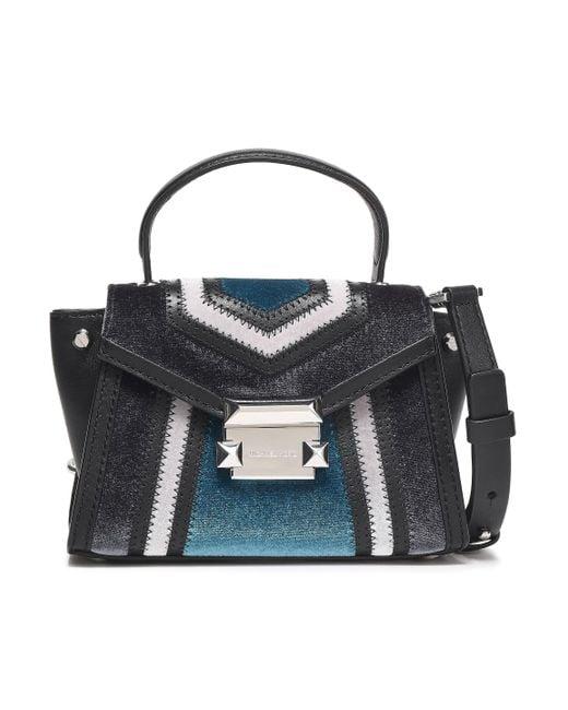 fd908401c170 MICHAEL Michael Kors - Gray Woman Leather And Velvet Shoulder Bag Charcoal  - Lyst ...