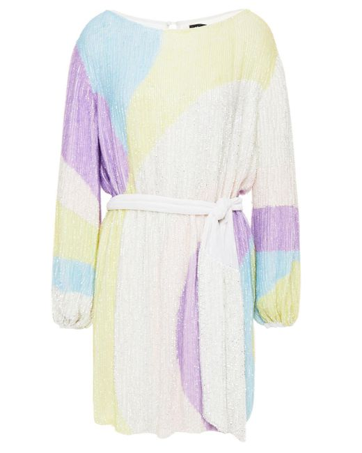 retroféte Multicolor Retrofête Velvet-trimmed Printed Sequined Chiffon Mini Dress
