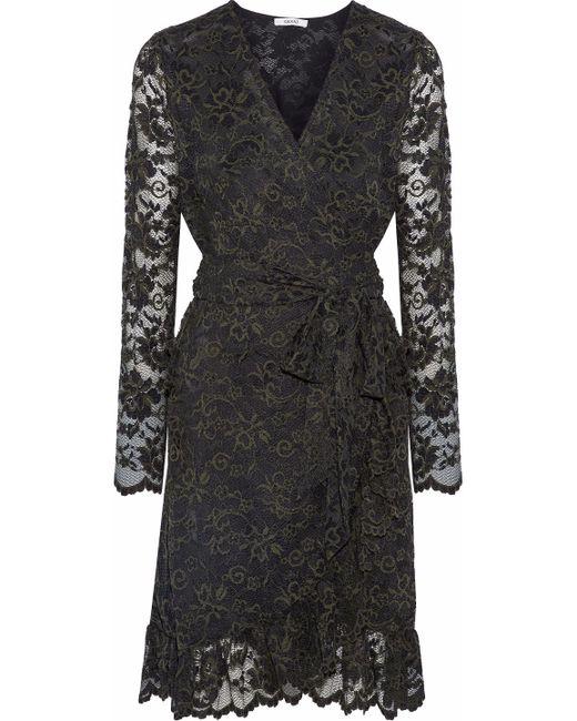 Ganni Black Flynn Ruffled Lace Wrap Dress Forest Green