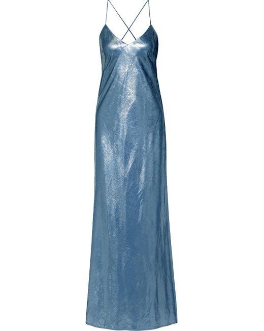 Michelle Mason Metallic Velvet Gown Slate Blue