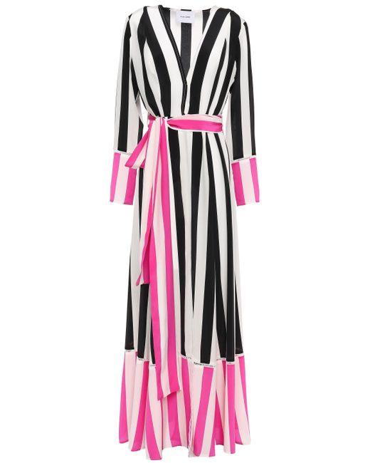 We Are Leone Belted Striped Silk Crepe De Chine Robe Black