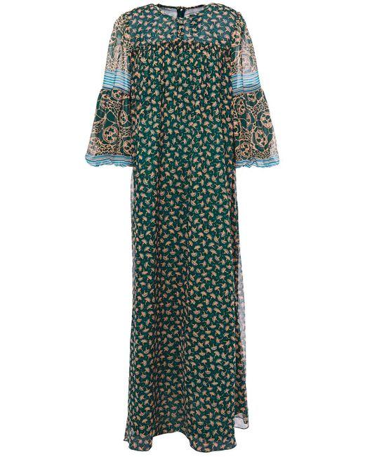 Anna Sui Green Printed Chiffon-paneled Silk-georgette Maxi Dress Emerald