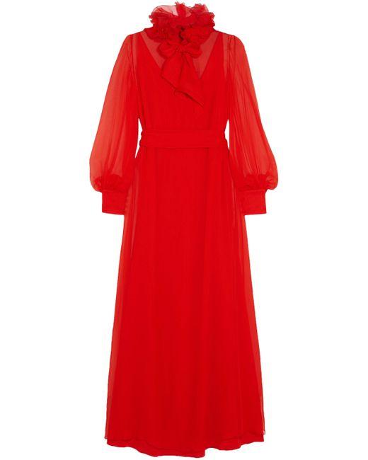 Lanvin - Red Pussy-bow Ruffle-trimmed Silk-chiffon Maxi Dress - Lyst