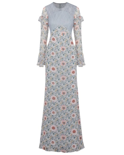 Mikael Aghal Lace-paneled Floral-print Chiffon Gown Gray