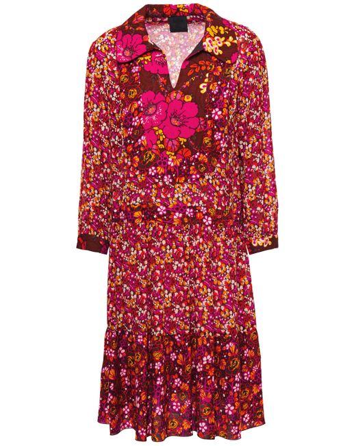Anna Sui Georgette-paneled Jacquard-trimmed Floral-print Twill Shirt Dress Orange