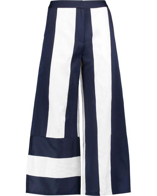 Goen.J | Blue Cropped Ruffled Wool-cady Bootcut Pants | Lyst