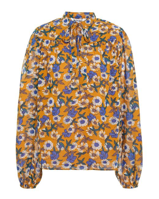 Walter Baker Brown Jessica Bow-detailed Floral-print Chiffon Blouse