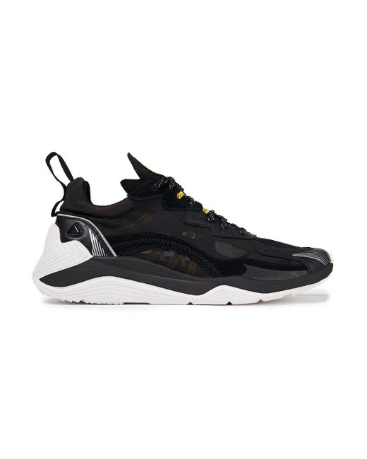 McQ Alexander McQueen Black Leather, Mesh And Suede Sneakers