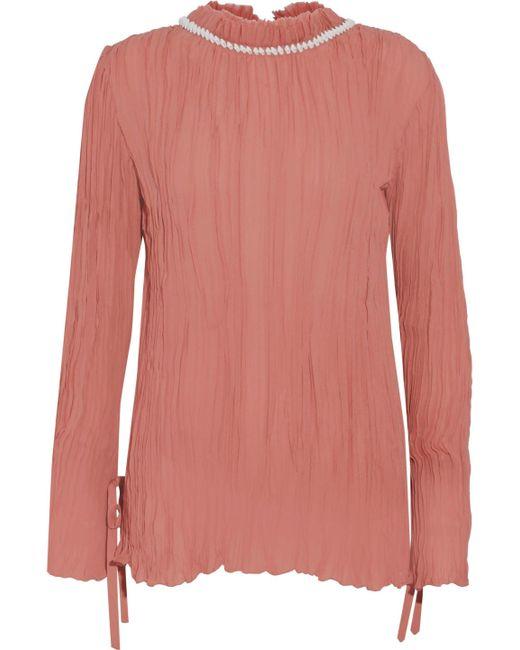 Nina Ricci - Pink Shell-embellished Plissé Silk-chiffon Blouse - Lyst